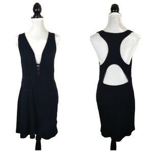 Free People Beach Black Ribbed Mini Dress Large